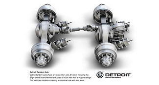 Detroit's tandem drive axles have Topoid differential gears so the ends of the interaxle driveshaft have zero angles where they join with the diffs. This is among standard features that add value for customers, DTNA says.
