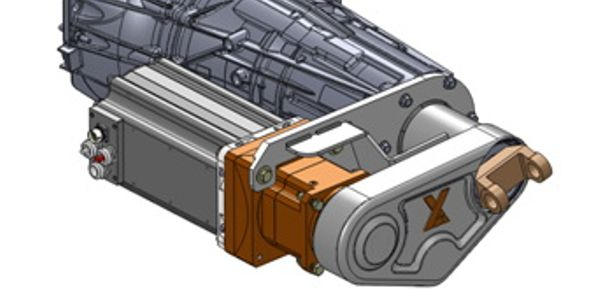 Motor-generator hangs next to the GM transmission, and is connected to a 4-to-1 gearbox. A...