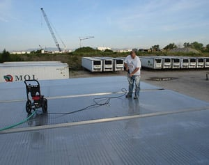 Super Therm can be sprayed over large areas or rolled onto smaller surfaces. Coating needn't be cleaned to stay effective and lasts more than 20 years. (Photo by Curt Lundberg)
