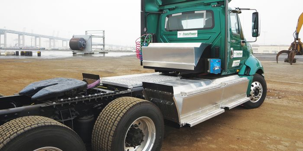 The third generation of TransPower's ElecTruck powertrain includes four large battery boxes hung...