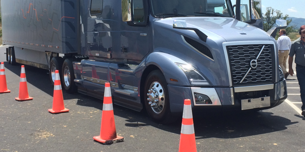 Trucking reporters took the new Volvo VNL for a spin on the test track at Volvo's New River...