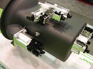 Wabco OptiDrive components, shown in bright trim, operate automated mechanical gearboxes from Volvo Powertrain, Daimler and others.