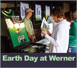 The goal of Werner's Earth Day event was to educate employees on the company's green initiatives, in hopes of getting people involved. (Photo courtesy of Werner Enterprises)