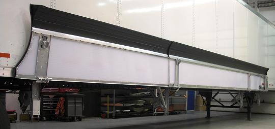 The Windyne fairing folds up for easy access to the underside of the trailer.