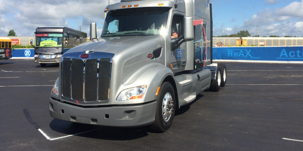 A single index finger was all that was needed to whip this Peterbilt through a Figure-8 course...