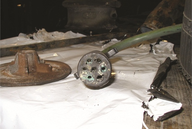Corroded 7-pin connector is obvious, but salt-induced corrosion can alsowick intowiring under its insulation.