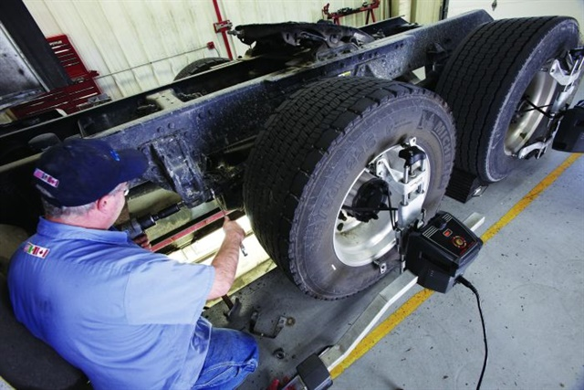 Proper alignment is an often-overlooked maintenance task that can have a significant effect on fuel economy.Photo: Paul Hartley