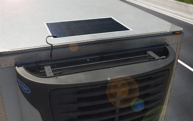 Carrier Transicold Thin Film Flexible Solar Panels are designed to maintain the refrigeration unit's battery charge. Photo: Carrier Transicold