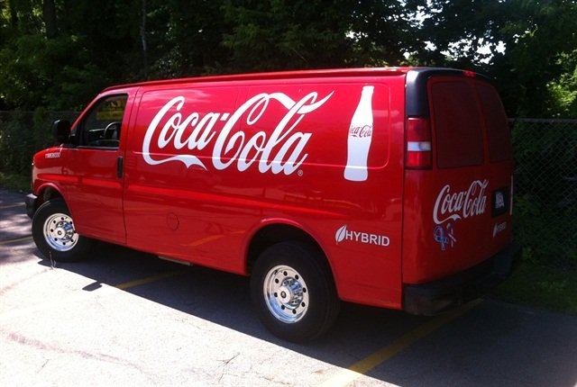 Coca-Cola purchased 100 gasoline-electric hybrid Chevrolet Express delivery vans that were converted using the XL Hybrids powertrain. Photo:XL Hybrids