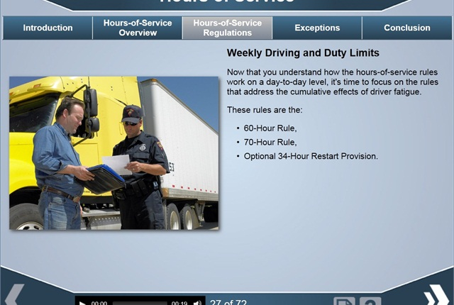 Online driver training courses, such as this hours-of-service course from J. J. Keller, allow drivers to train at their own pace from home or on the road.