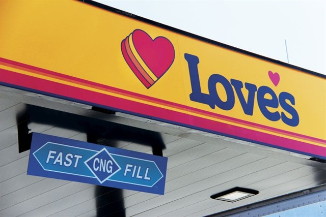 Love's first began providing CNG to heavy-duty drivers in 2012, and has continued to expand its network throughout the U.S., including adding stations in eastern Texas. Photo via Love's