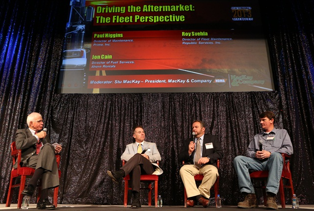 From left, Prime Inc.'s Paul Higgins, Republic Services' Roy Svehla, and Ahern Rentals' Jon Cain discuss their parts-buying habits during Heavy Duty Aftermarket Dialogue.
