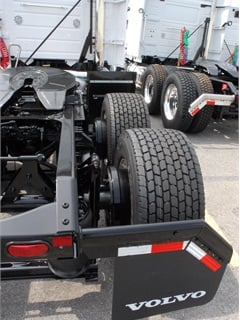 Standard-track axles with 2-inch offset wheels leave much of the brake drum exposed.