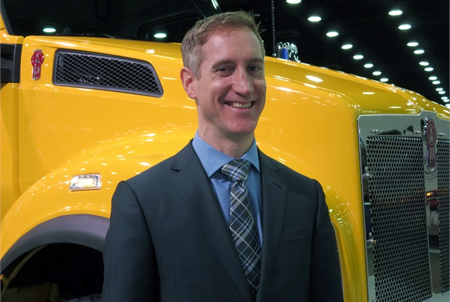 Patrick Dean, Kenworth chief engineer, with the new Kenworth T880S. Photo: Deborah Lockridge