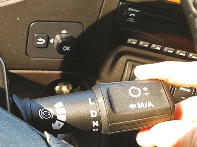 The stalk-mounted shifter control is new. It's easier to reach than the old dash-mounted shifter and very intuitive.