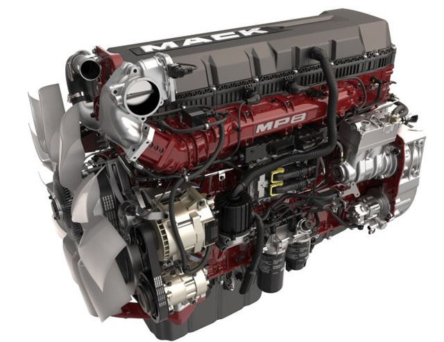 Mack will add turbo compounding to is MP8 engine lineup in the spring, as will the Volvo D13. Photo: Mack