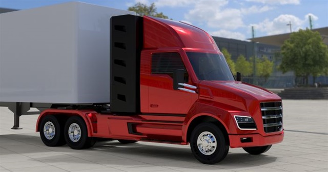 Nikola Two daycab uses the same innovative powertrain and chassis but looks much like a standard conventional-cab tractor. It may be first into production in a few years. Photo:  Nikola Motor Co.