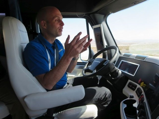Even when autonomous technologies handle the steering, as in Freightliner's Inspiration Truck demonstrated last year in Nevada, drivers need to be ready to take back control. Photo: Deborah Lockridge