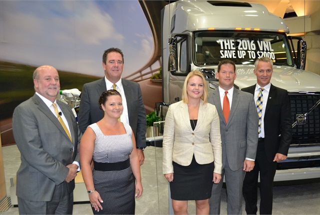 (L-R): Mike Cain, Michelin vice president of original equipment, co-sponsor of the award; Mark Seymour, president of Kriska Holdings; Denise Elliot, safety manager, Kriska Holdings; Senta Brookshire, director of safety and driver development, Britton Transport; Jim Stockeland, president of Britton Transport; and Göran Nyberg, president of Volvo Trucks North American sales and marketing.