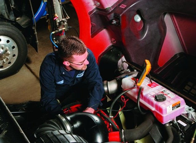 It's critical that drivers complete accurate pre- and post-trip inspection reports and that shop personnel address any issues promptly. That's because nearly two-thirds of all CSA points assessed to both carriers and drivers result from violations assigned to the program's Vehicle Maintenance BASIC category. Photo:  Paccar Parts