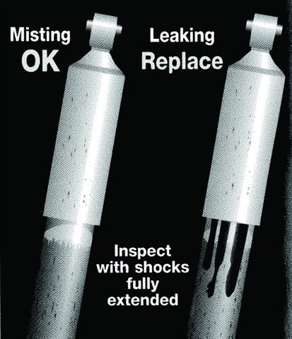 TMC guidelines say misting oil is OK for a shock absorber, but leakage isn't. ART:  ATA Technology & Maintenance Council