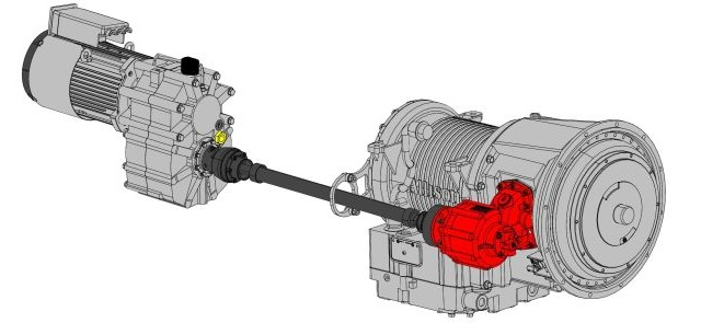 Starter-generator is linked to a truck's powertrain by a driveline to a PTO (in red) on the automatic transmission. It quickly cranks up the engine after it's shut down when the vehicle's standing still. The starter-generator is actually much smaller than shown here.