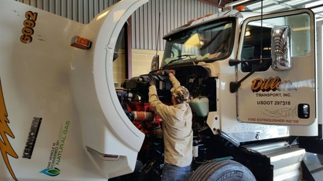 Training and education are vital to help technicians feel fulfilled in their jobs and to keep them up to date on new technology — including alternative fuels, as in this Dillon Transport shop.Photo: Dillon