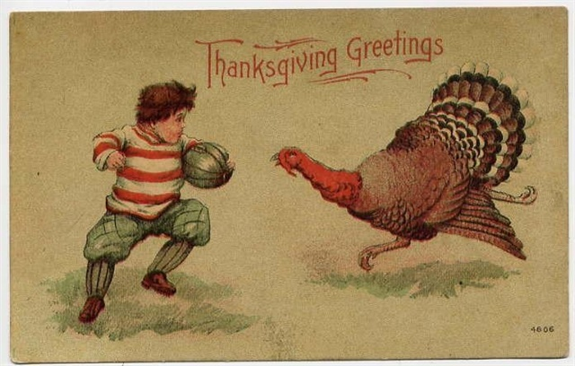 Thanksgiving postcard circa 1900 showing turkey and football player. Image via Wikimedia Commons