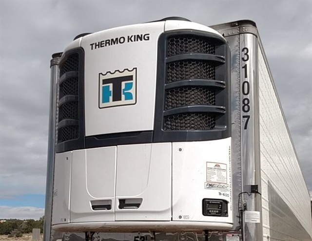 With tracking equipment, this untethered trailer's reefer can be remotely monitored. Thermo King will switch to R-452A, which has half the Global Warming Potential of R-404A, its current refrigerant. Photo: Tom Berg