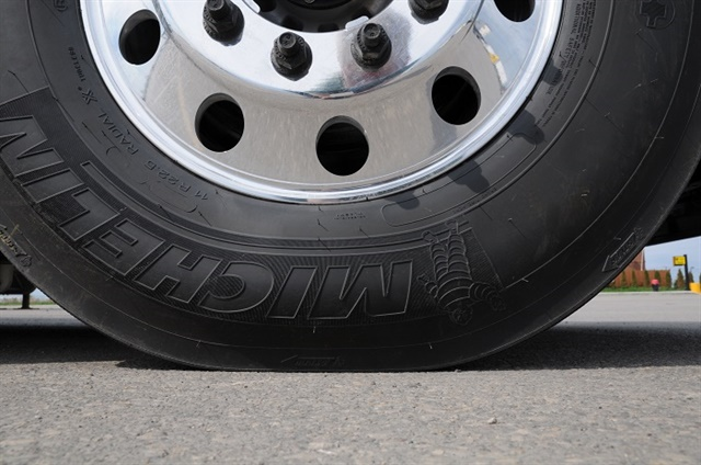 Drivers will often look closely at steer and wide-base single tires but not duals. Under-inflated is under-inflated, even when they think they can limp in on a flat. Photo: Jim Park