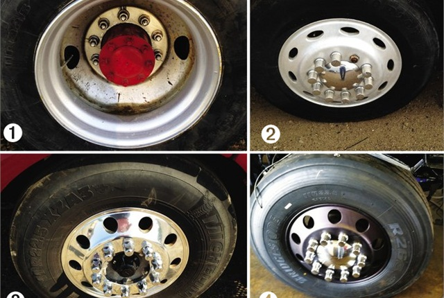 To combat corrosion, MBH has switched from painted steel wheels (1) to unpolished aluminum (2) to treated aluminum wheels. Products include Alcoa's Dura-Bright (3) and Accuride's Accu-Shield and Accu-Armor (4).