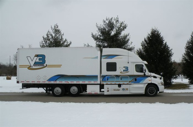 V3 Transportation's show truck was both painted and modeled off a police car. It is used for local charity events and at local schools safety towns and DARE programs.