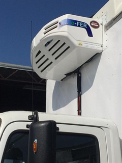The new Volta Air 450 system is nose-mounted like a traditional reefer unit. Photo courtesy Volta Air