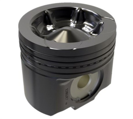 "Volvo's new ""wave"" piston bowl design directs atomized fuel from the injector back into the center of the burn, which increases energy yield while reducing soot production by 90%. Photo: Volvo"