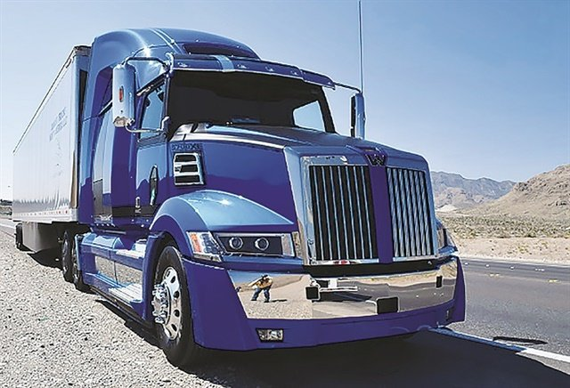Western Star's 5700XE flagship highway tractor can be spec'd with the fuel-efficient Detroit DD15 engine.