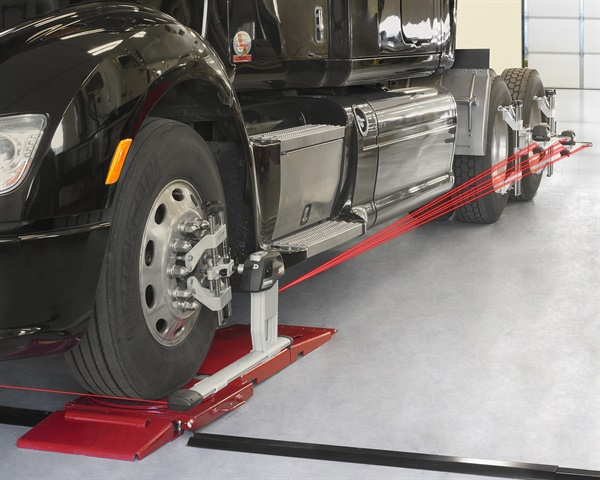 While many fleets view alignment as an expence, it can be a real cost saving measure. Photo from Hunter Engineering Inc.