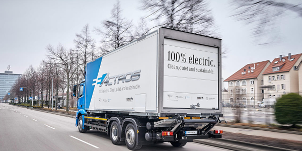 Daimler Trucks has a 'Baby 8' eActros electric truck in fleet testing in Europe; is an...