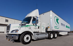 Saddle Creek's new Freightliner Business Class M2 112 tractors run on compressed natural gas.