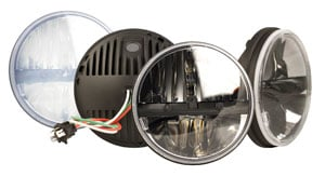 LED headlamps are now available in 7-inch round and 5x7-inch rectangular versions. They emit bright, white light to help drivers see clearly and far ahead.