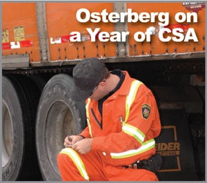 Schneider National's efforts to improve its CSA scores have resulted in a favorable trend in the number of inspections with violations. Photo by Jim Park.