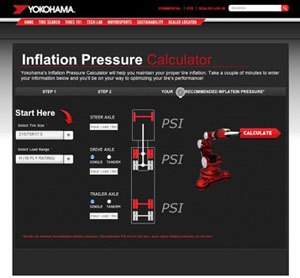 Yokohama's Inflation Pressure Calculator is an online tool to help fleets maintain proper tire inflation.