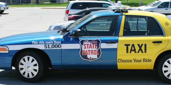 """Choose Your Ride"" is literally a publicity vehicle. Wittily marked up by WisDOT as half State..."