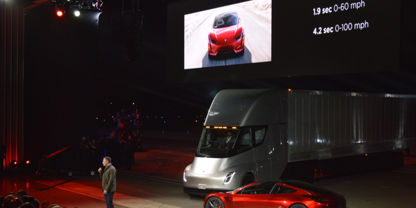 Tesla CEO Elon Musk speaks to a racous crowd at the launch of the new Semi Class 8 truck in...