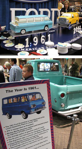 Restored '61 Econoline pickup helped Ford begin a celebration of the E-Series' 50th anniversary at the NTEA Product Conference last week in Dearborn, Mich. Bakers decorated special cakes to resemble 1961 and 2011 vans. (Photos by Tom Berg)