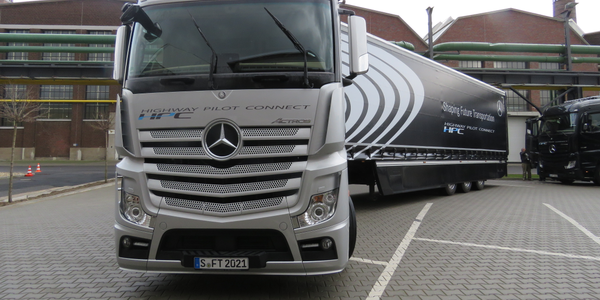 Mercedes Benz Actros cabover fitted with Daimler AG's Highway Pilot Connect autonomous-driving...