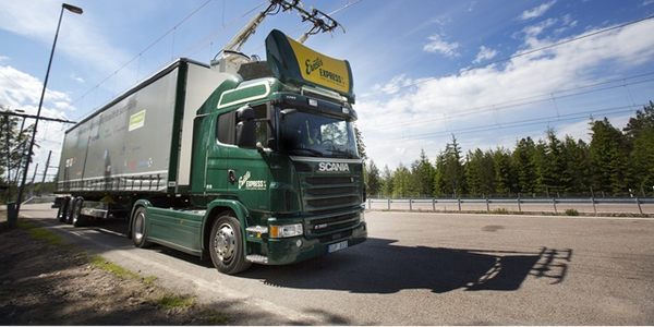 Dedicated lanes for electric trucks, with overhead electric cables to supply power, will likely...