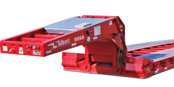 Present-day gooseneck low-bed trailer is one of many heavy-haul products made by today's Talbert...