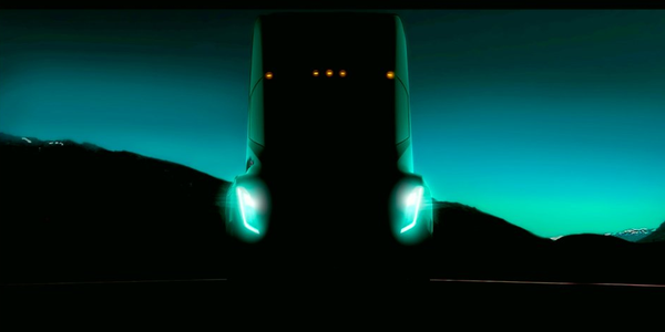 Tesla founder Elon Musk tweeted this image of his upcoming all-electric tractor during a TED...