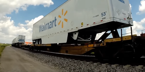This clean Walmart piggyback van seemed a good place to rest while riding the rails in Kansas...