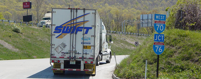 A truck enters the Pennsylvania Turnpike. (Photo by Ben Schumin via Wikimedia Commons)